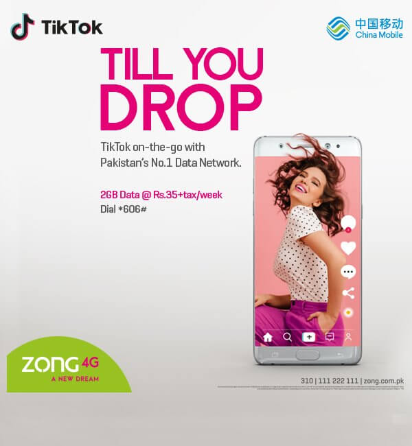 Zong offers TikTok weekly Bundle for Pakistani TikTokers