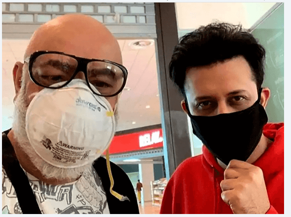 Actors creating awareness about coronavirus by wearing masks